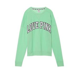 Pink Victoria's Secret Boyfriend Crew Suite Green
